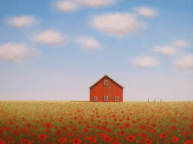 Reflections Of A Country Landscape Artist Poppy Field Old