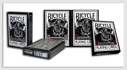 Bicycle Black Tiger Deck (Red & White Pips)