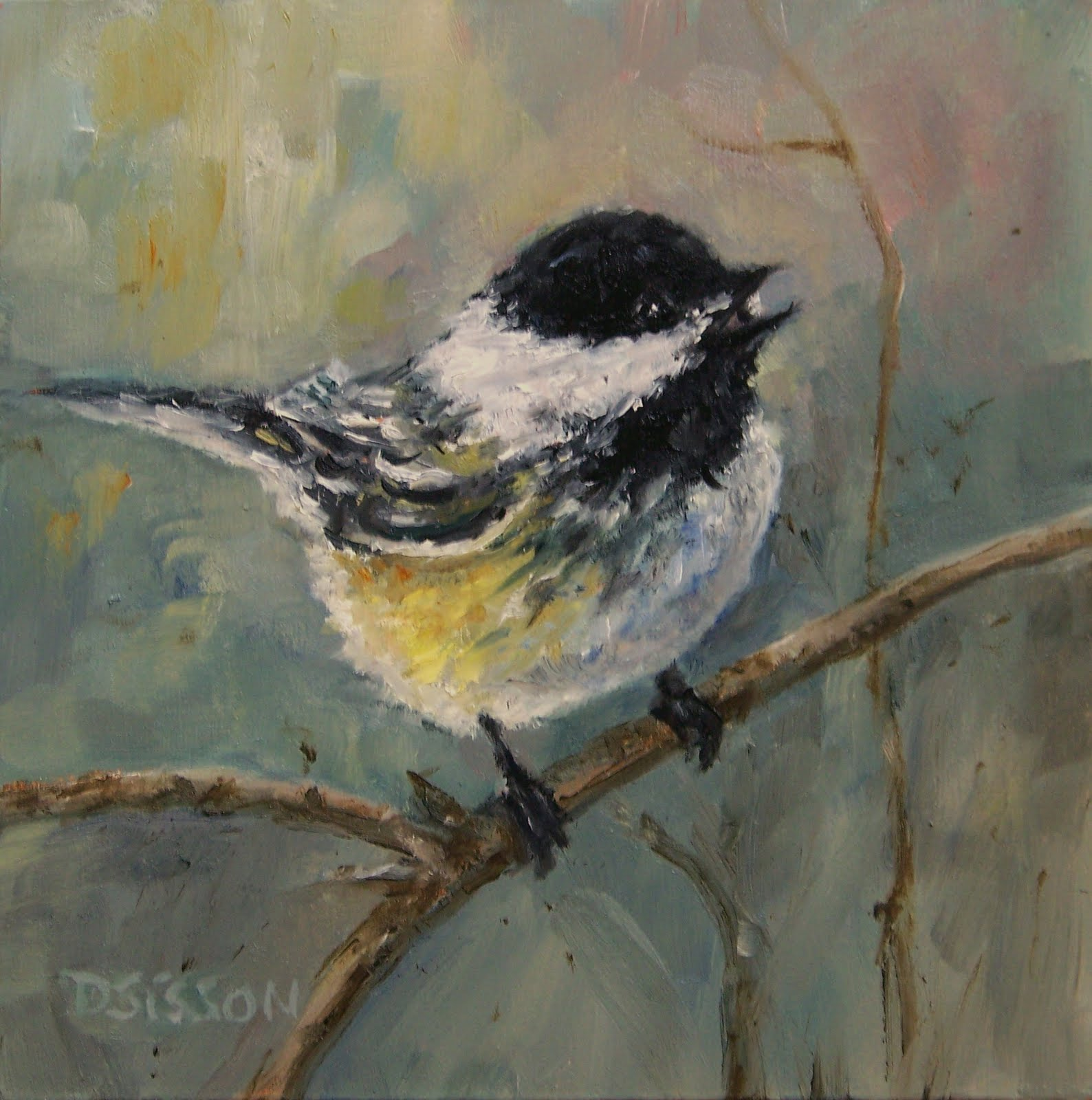 daily painting projects black capped chick a dee oil