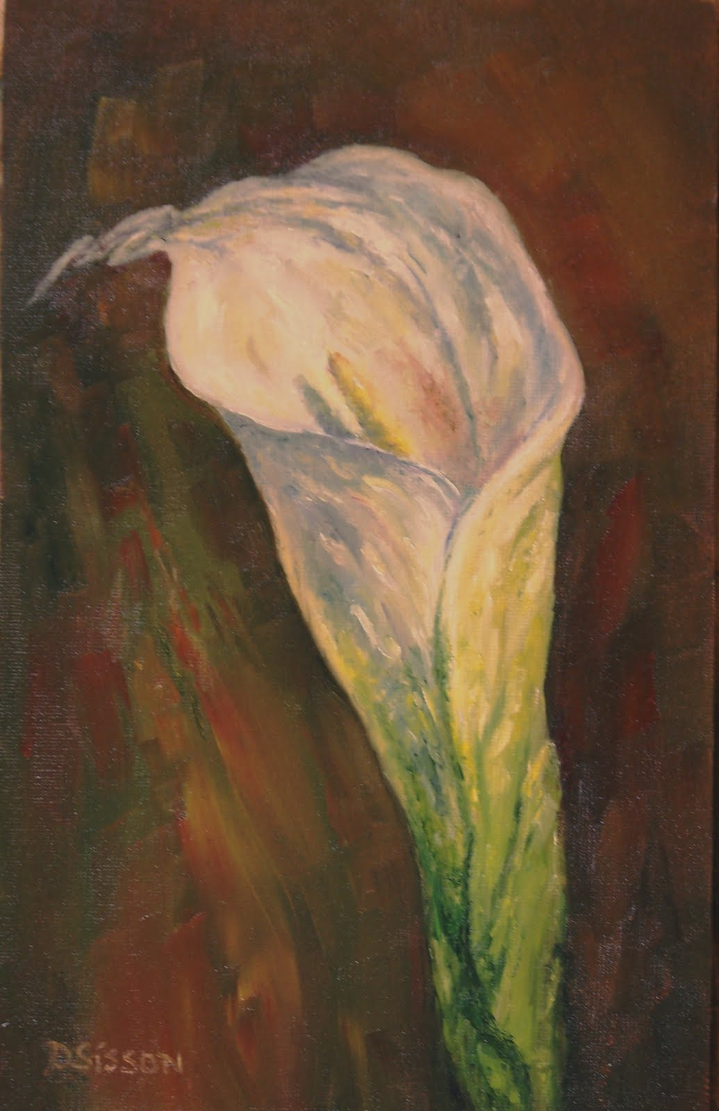 daily painting projects calla bloom oil painting lilly still life flower art botanical garden. Black Bedroom Furniture Sets. Home Design Ideas