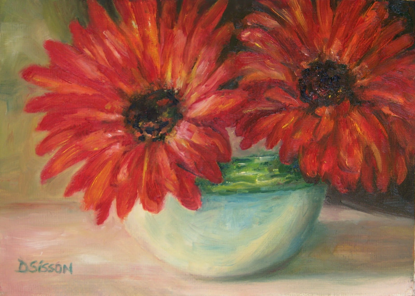 Daily Painting Projects Double Red Gerberas Oil Painting Flowers Still Life