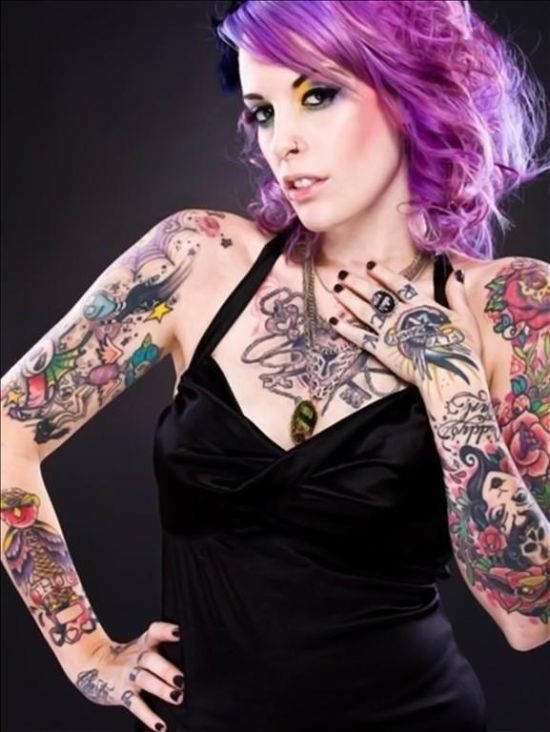 Girls with Purple Hair and Tattoos