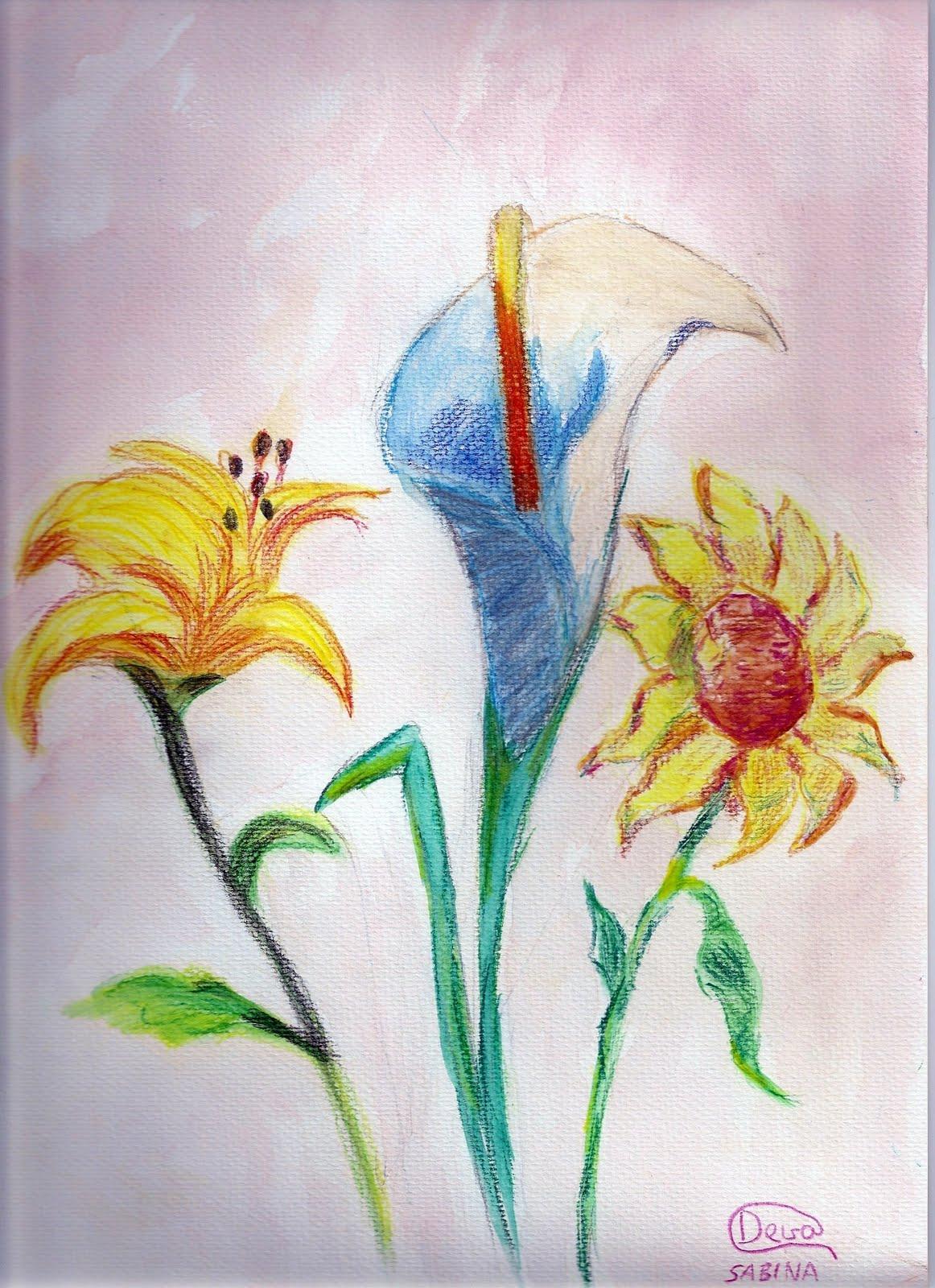dibujo pintura y escritos flores con lpices acuarelables