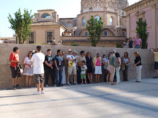 Group of bloggers on fam trip to Valencia, getting lined up for a photo
