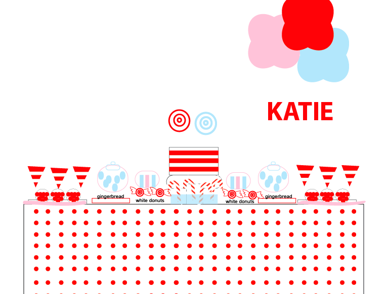 XMas Candy Land Dessert Table Illustration