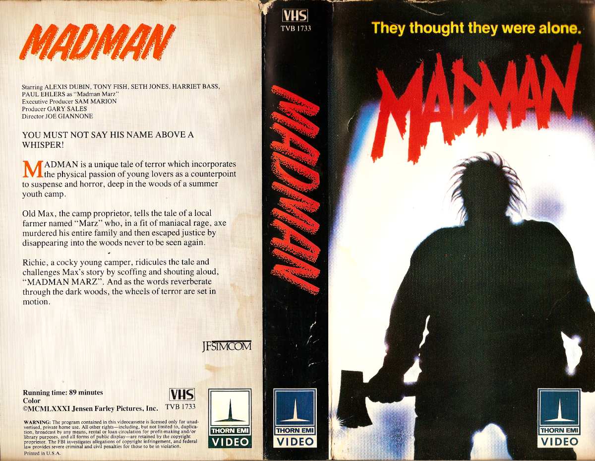 Image result for madman vhs box