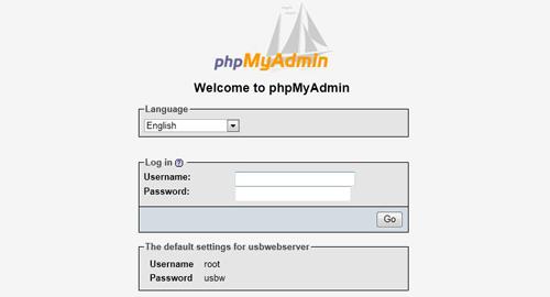 USBWebserver phpMyAdmin