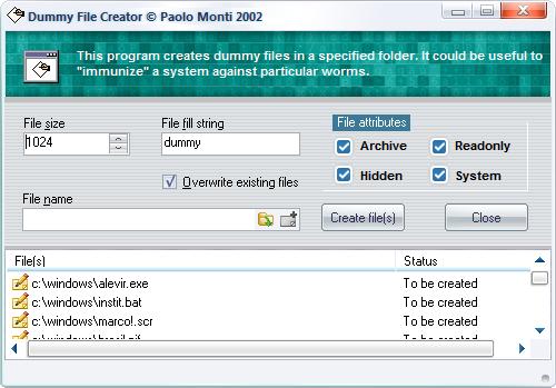 NOD32 Dummy File Creator Utility