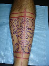pieza maori en proceso,realizado a mano alzada