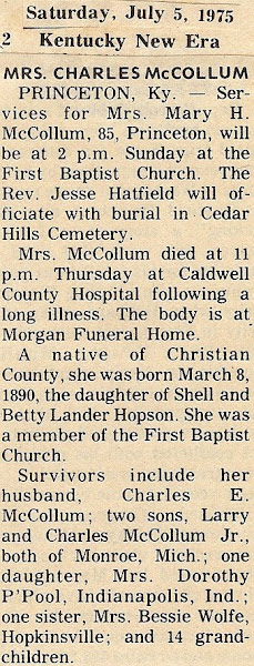 Aunty's obituary, 1975