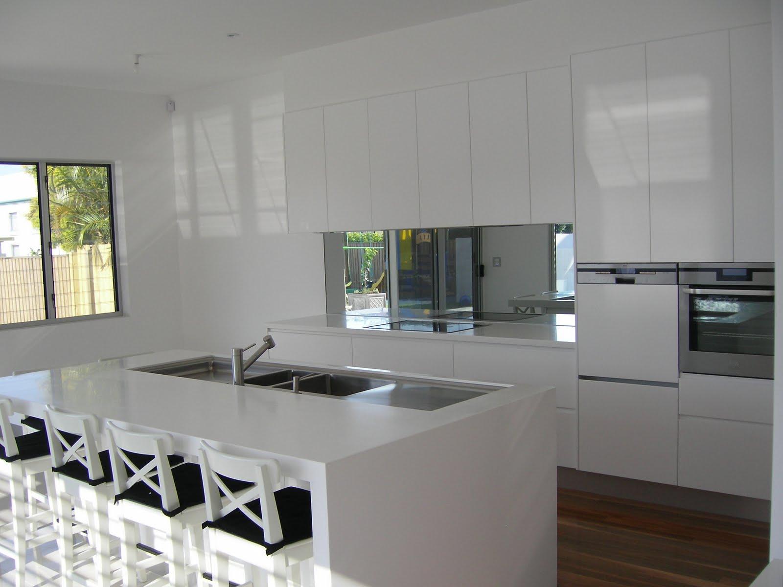 Mirror Splashback Kitchen with White