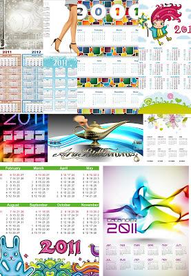2011 Tebrik Kartları ve Arkaplanlar Takvimler