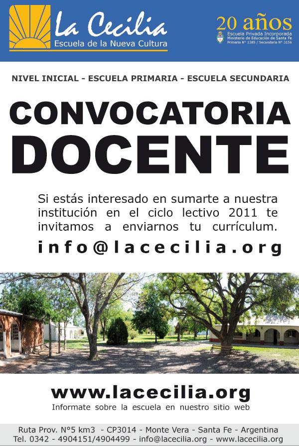 Convocatoria docente 2011 escuela de la nueva cultura for Convocatoria docente