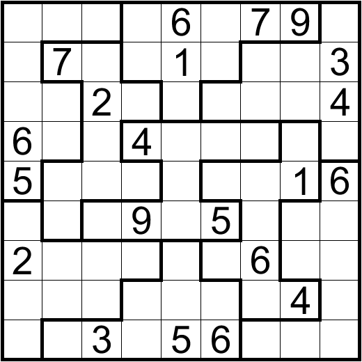 This is a picture of Crazy Irregular Sudoku Printable