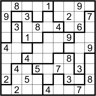 This is a graphic of Bewitching Irregular Sudoku Printable