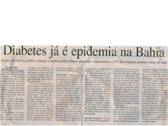 DIABETES JÁ É EPIDEMIA NA BAHIA