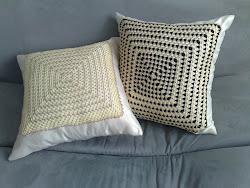 Almofadas em crochê com linha de seda