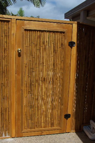 Bamboo Gate framed in Stained and Treated pine $300. This one is a Pool gate & Noosa Custom Lattice u0026 Bamboo: Doors u0026 Gates - Timber u0026 Bamboo