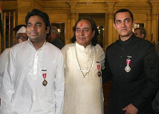 Aamir Khan , A R Rahman , Shewag Receiving Padma Bhushan