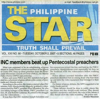 Iglesia Ni Cristo Logo. Iglesia Ni Cristo members beat up Pentecostal preachers on a debate