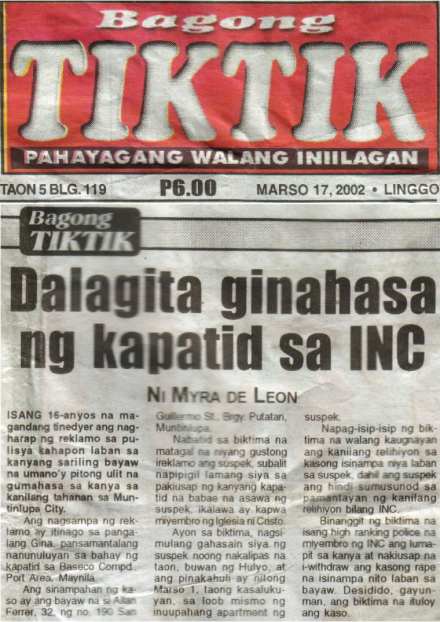 don't want any kids to grow up as Iglesia Ni Cristo members .