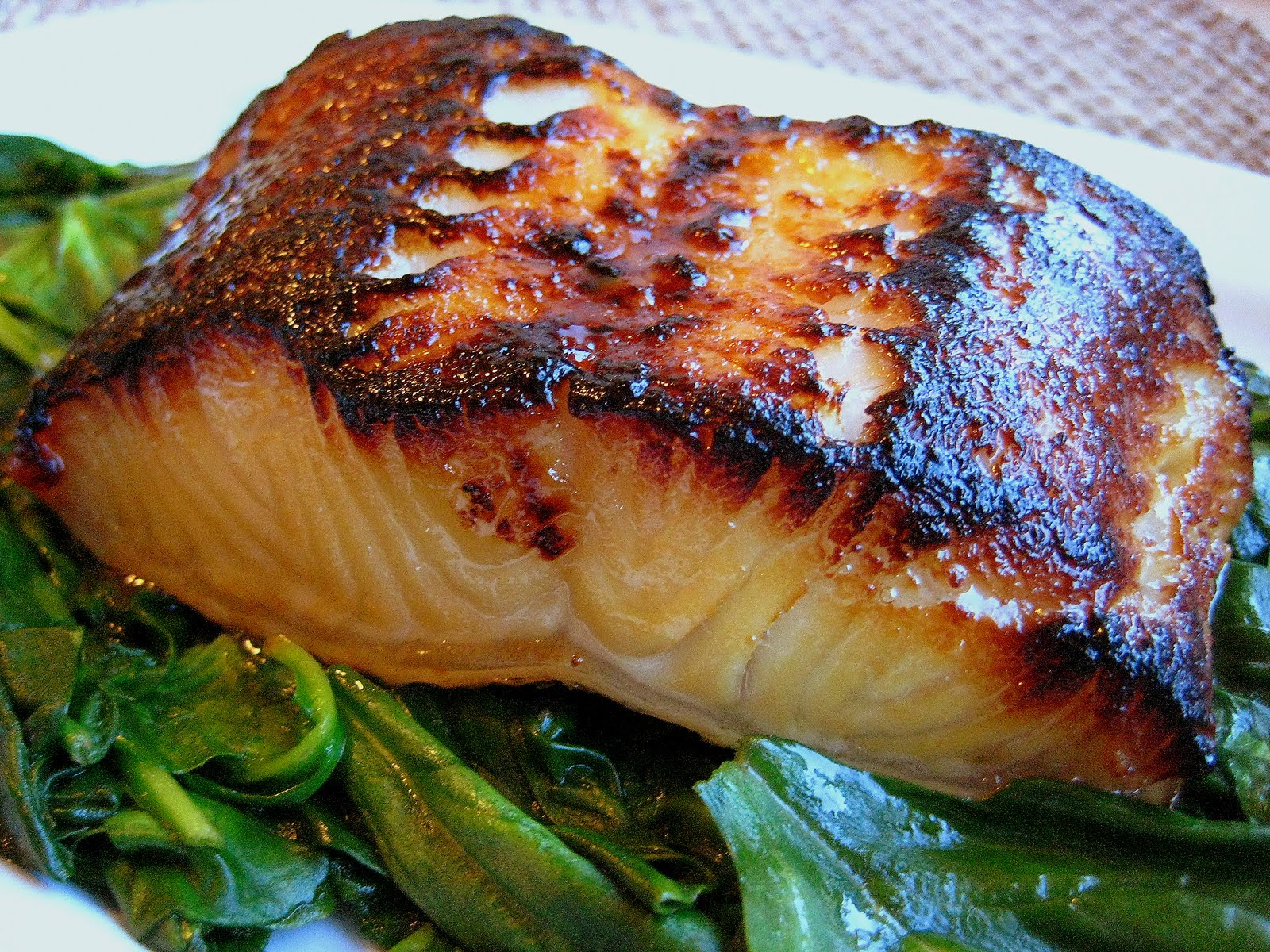 Miso-Glazed Sea Bass With Asparagus Recipe — Dishmaps