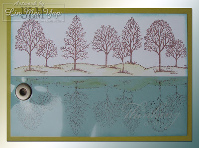 Reflection Technique using Stampin' Up! Lovely as a Tree stamp set