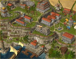 Grepolis town buildings level 3 with theater and trade office