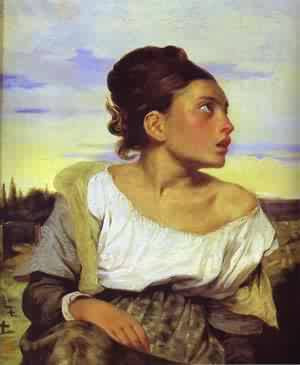 Eugène Delacroix - girl seated in a cemetery - Louvre, París