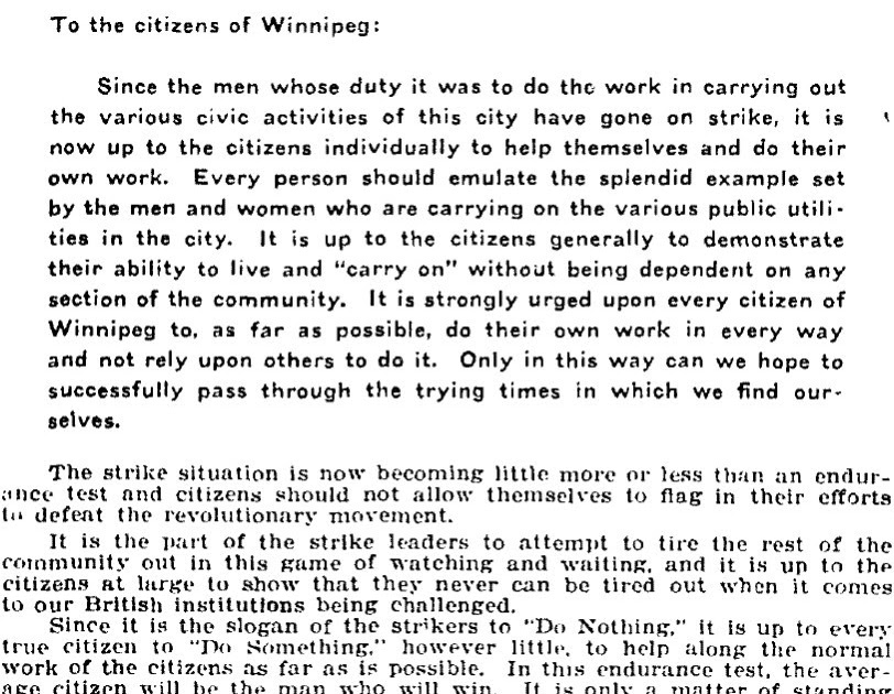 1919 The Winnipeg General Strike Wednesday 28 May 1919