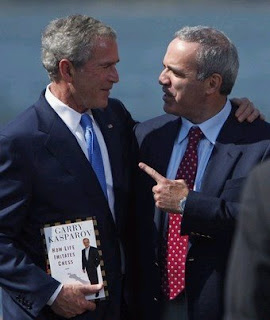 Former U.S. President Bush with World Chess Champion Kasparov
