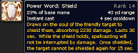 Power Word: Shield tooltip