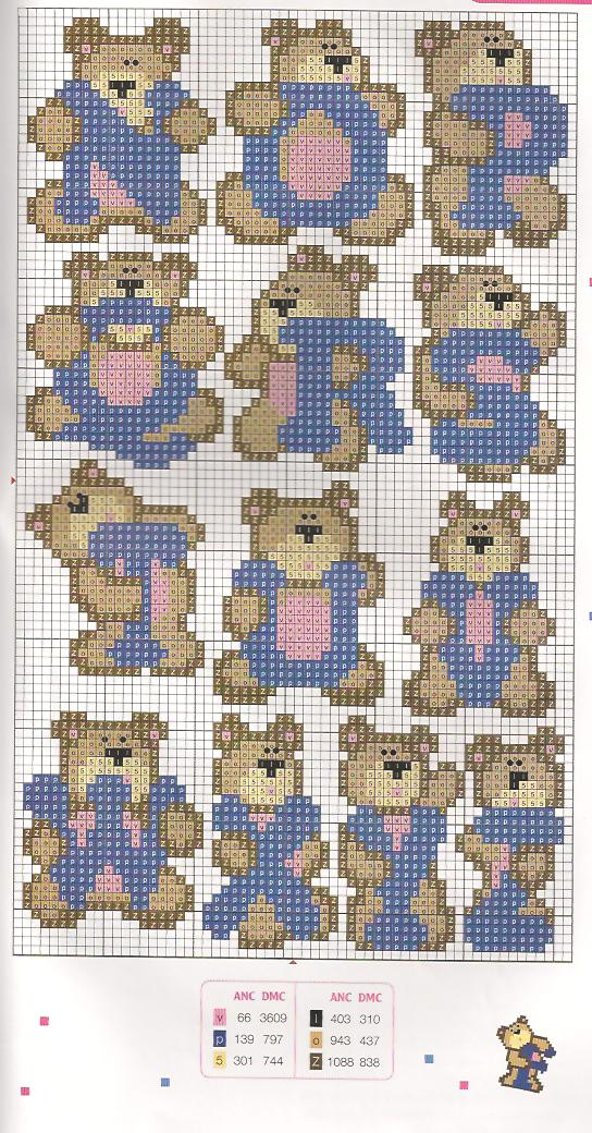 Arte de Bom Tom: Monograma de ursinhos em ponto cruz