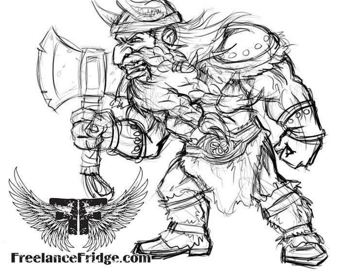Cartoon Girl Viking. Viking Sketch
