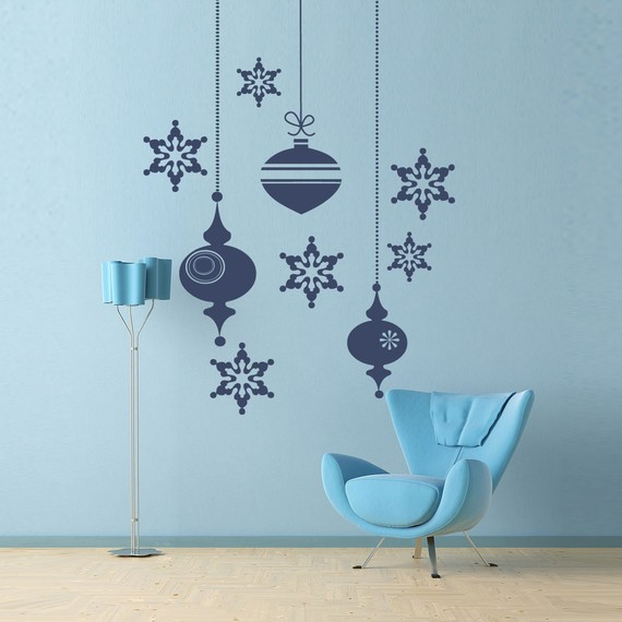 Christmas wall decals at etsy agate 39 s room for Christmas wall mural plastic
