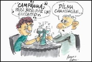 Dilma só pensa em Campanha, charge.