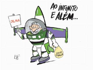 Lula Buzz para levar Dilma ao infinito e além. Charge.