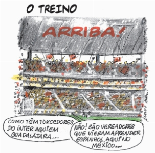 A final da Libertadores e os Vereadores do RS. Charge.