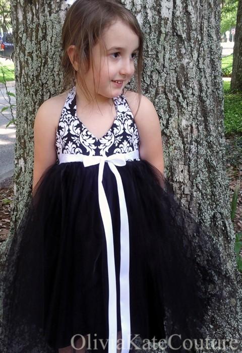 dresses black white damask bridesmaid