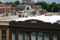 [Large chimneys on P Street, summer 2005]