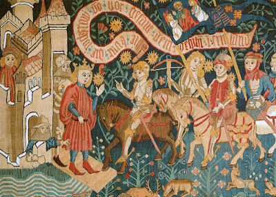 Santa Joana d'Arc chega a Chinon, tapeçaria alemã, Castelos medievais