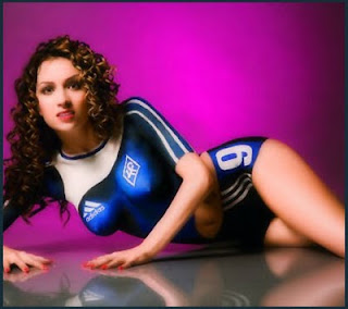 sexy supermodel body painting fooball uniform