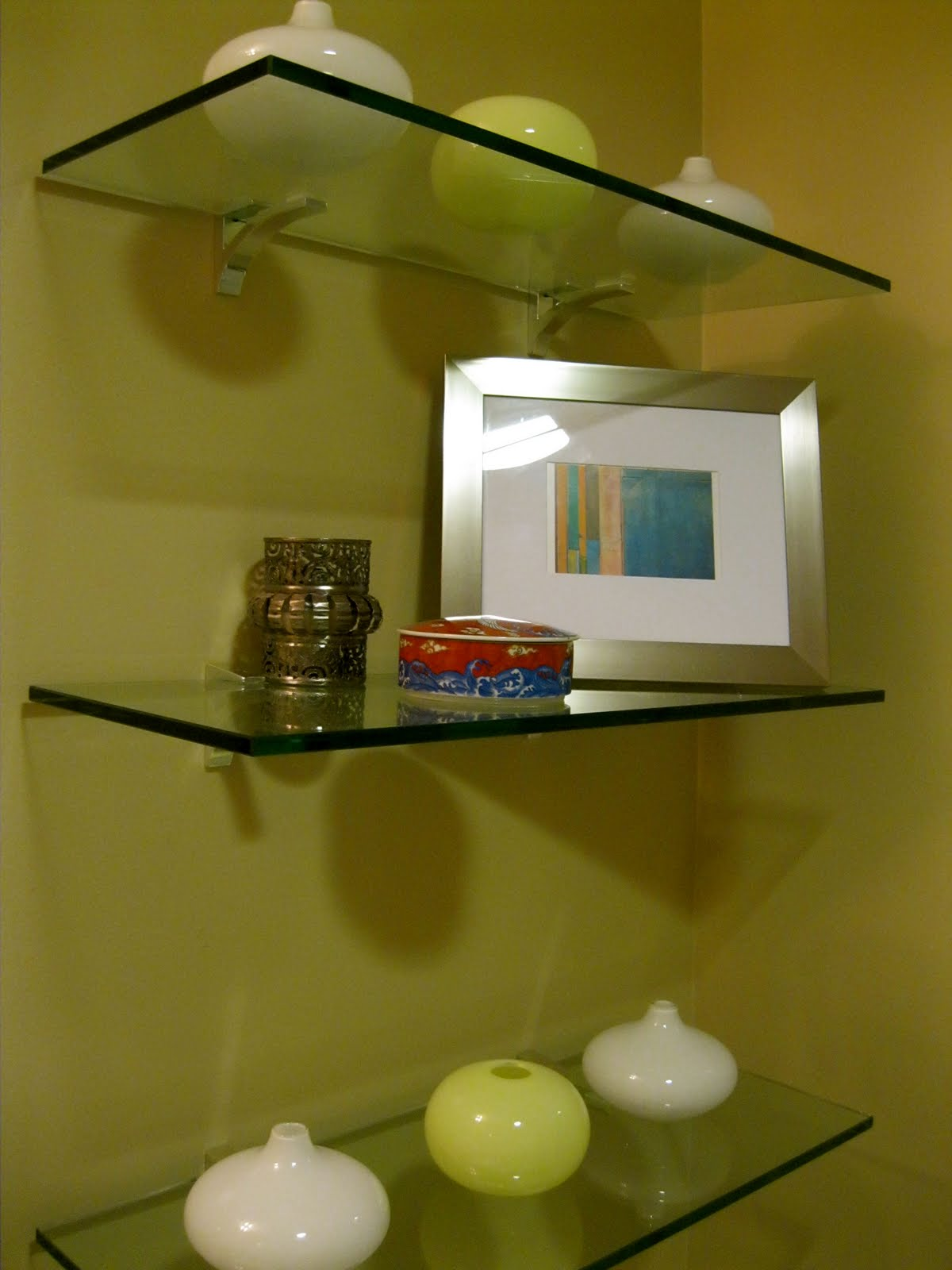 Short sweet show us your life bathrooms for Bathroom glass shelves
