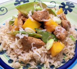 Coconut Curried Pork, Snow Pea, and Mango Stir-Fry Picture