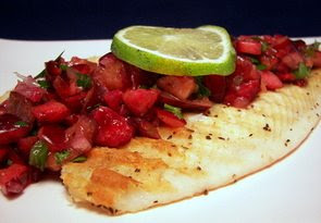 Grilled Tilapia with Cherry Salsa (Adapted from Everyday Food)