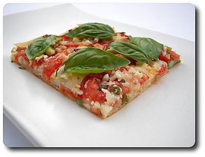 Phyllo Pizza with Feta, Basil and Tomatoes - 7/09