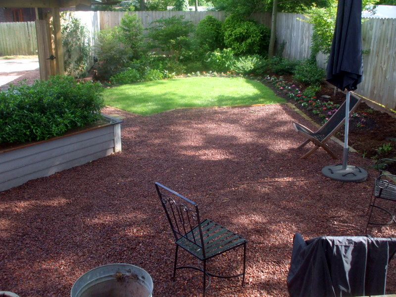 Renewed The Patio Stone With 2 Yards Of The Red Bama Path Gravel And Spread  New Hardwood Mulch In All The Beds.