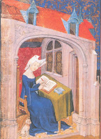 Painting credit:  Melissa Snell, 'Christine Writing' a painting of Christine de Piza (1363–c.1434), a feminist writer who made a living at her desk.