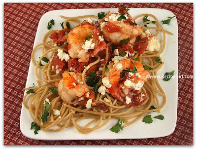 The Recipe Girl: Greek- Style Shrimp Scampi with Whole Wheat Spaghetti
