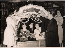 Young women Decorate the Epitaphio-Good Friday in the Greek Orthodox Church, Wellington, NZ,1959